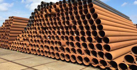 Ruim 245 ton langsnaad gelast 406,4 x 5 mm in staalkwaliteit S235 tot S355